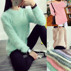 Women Casual Tops Mohair Blend Fuzzy Blouse Pullover Jumper Sweater Knitwear New