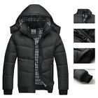 Men Cotton Down Coat Jacket Winter Warm Padded Hooded Hoodie Thick Parka Outwear