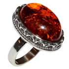 8.3g Authentic Baltic Amber 925 Sterling Silver Ring Jewelry N-A7001