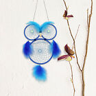 MS7031 Handmade Blue Feather Dream Catcher 3 Circles Shaped Owl Wind Chime B