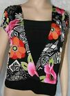 New blouse cap sleeve floral print wrap style top with black inset banded waist