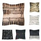 Cotton Linen Music Note Pillow Case Waist Throw Cushion Cover Sofa Pillowcase