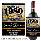 Personalised Born in 1980 Year Happy 38th Birthday Wine Champagne Bottle Label