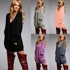 Plus Size Winter Sexy Women V Neck Sweater Dress Long Sleeve Jumper Tops L4p0