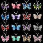 Charm Silver Crystal Rhinestone Butterfly Pendant Necklace Sweater Chain Jewelry