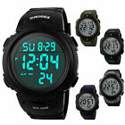 SKMEI Kids Boys Girls Waterproof Alarm Silicone Sport LED Digital Wrist Watch US image
