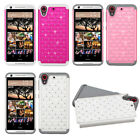 For HTC Desire 555 HYBRID IMPACT Dazzling Diamond Two Layered Phone Case Cover