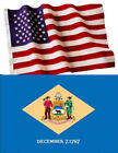 Delaware State and American Flag Combination, Made In USA, All Sizes, You Pick