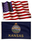 Kansas State and American Flag Combination, Made In USA, All Sizes, You Pick