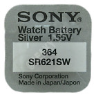 364 SR621SW SR60 Silver Oxide Watch Battery 1.55v [Select the Brand Wanted]