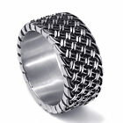 12MM Mens Elegant Weave Knot Band Stainless Steel Ring Fashion jewelry Size 8-15