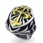 Mens Large Silver Gold Knight Fleur De Lis Cross Stainless Steel Ring