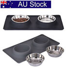 AU! Stainless Steel Pet Dog Double Feeder Food Water Bowl No Spill Silicone Mat