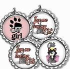 Love Cats Rule Bottle Cap Bag Tag Luggage Id Kids Backpack Zipper Pull Charm