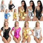 Sexy Women One Piece Shiny Leather Spandex Lycra Thong Leotard Bodysuit Swimsuit