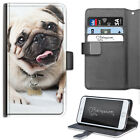 HAIRYWORM PUG DOG WITH TONGUE OUT DELUXE LEATHER WALLET PHONE CASE, FLIP CASE