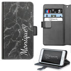 HAIRYWORM PERSONALISED WHITE NAME ON BLACK MARBLE LEATHER WALLET FLIP PHONE CASE