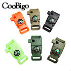 "1X Compass Fire Starter Whistle Buckle 5/8"" Emergency Survival Paracord Bracelet"