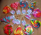 Large Whirly Rainbow Fruit Rock Lollipops Sweets Lollies Birthday Party