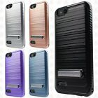 For ZTE Avid 4 Brushed HYBRID Kickstand Shockproof Carbon Fiber Trim Case