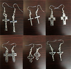 Silver Color Earrings Crucifix Cross Charm  Jewelry Ear Rings