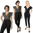 Women Ruffle Jumpsuit Ladies Frill Sleeve V Neck Top High Waisted Trousers Pants