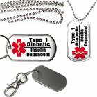 Medical Alert Type 1 Insulin Dependent Diabetic Dog Tag on Key Chain or Necklace