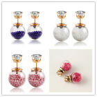 Sale Korean Woman Girl Double Sides Charm Flower Crystal Ball Ear Stud Earrings