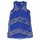 French Connection Kids Stripe Sequin Dress Shift Sleeveless Round Neck Cotton