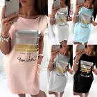 Uk Womens Short Sleeve Casual T Shirt Mini Dress Ladies Summer Loose Tops Blouse