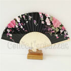 Black Chinese Bamboo Folding Silk Floral HAND FAN for Wedding Party Gift J