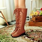 Women's Fashion Low Heels Military Riding Boots Roman Lace Up Knee High Boots Sz