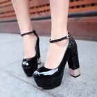 Womens Sequins Round Toes Ankle Strap Platform Chunky High Heel Elegant Shoes Sz