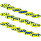 Oval Year Blue & Yellow Car Dealer Windshield Oval Year Model Sticker You Pick