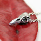 Tiny Raven Skull Charm Necklace in Solid Sterling Silver  Bird Crow  Choker 494