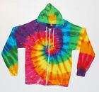 Adult Tie Dye Zip Hoodie PinWheel Spiral Zipper Sweatshirt Grateful Dead hippie