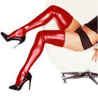 Women Lingerie Wet Look Thigh High Long Spandex Lace Leather Stockings Tights