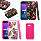 For Samsung Galaxy J3 Eclipse HYBRID IMPACT Dazzling Diamond Layered Case Cover