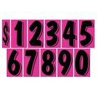 7 1/2 Inch Black & Pink Numbers Windshield Pricing Stickers Car Dealer You Pick