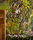 DOUBLE SPIRAL SOLAR LIGHTED GARDEN WIND SPINNER WEATHER RESISTANT YARD ART-2 COL