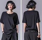TREND PUNK VISUAL BLACK ROUND NECK 54795 SOFT SHIRTS TOP