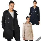 Womens Stylish Retro Tailored Trench Mac Coat Double Breasted Jacket Autumn 8-18
