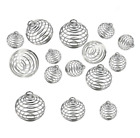 30Pcs 3Size Set Sliver Spiral Bead Cage Pendant Findings DIY Jewelry Accessories