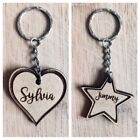 PERSONALISED HEART STAR KEYRING NAME UNIQUE SCHOOL BAGS TAGS XMAS