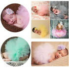 Newborn Baby Girls Outfit Tutu Tulle Skirt Headband Photo Prop Costume AY