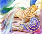 Colorful Watercolor Art Guardian Angel Sleeping Heaven Print Made in USA