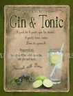 GIN AND TONIC  COCKTAIL RECIPE:HOME BAR:METAL SIGN :3 SIZES TO CHOOSE FROM