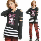 GLP 71231 PUNK VISUAL GOTHIC LONG SLEEVES SHIRT TOP BLK