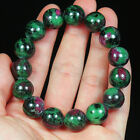 293.6CT 100% Natural Red Green Bi Color Ruby In Zoisite Beads Bracelet BRGT192