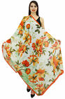 Women Yellow Floral Long Stole Neck Wrap Scarf Summer Shawl Dupatta-40x72 Inches